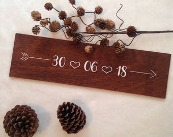 Panel inscription date: wedding, ceremony. Wedding, rustic style sign