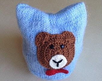 Newborn knitted baby hat Newborn hat Baby boy hat Crochet baby beanie Hat with Teddy Bear Hand knitted baby hat