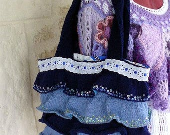 ruffle purse, hand knitted and embroidered with sequins.