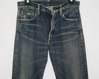 Vintage 45RPM Straight Cut Blue Jeans Made In Japan Size 28