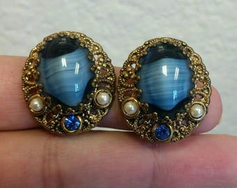 W. Germany stamped blue givre glass clip on earrings
