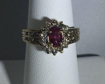 Vintage pink tourmaline and diamond ring