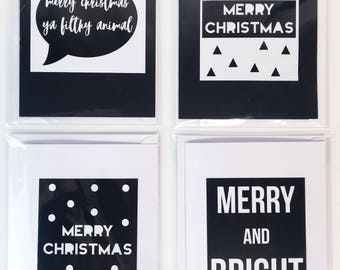 Pack of 4 Monochrome Christmas Cards // Christmas Card Pack // Typography  // Minimal // Monochrome  // Scandanavian Christmas Card