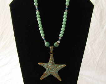 Mint Green Glass & Crystal Beaded Starfish Pendant Necklace
