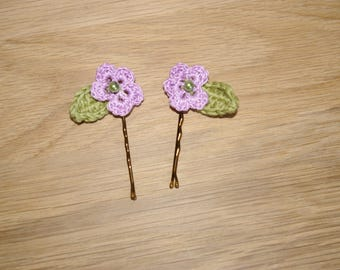 Purple and green flower hair clips