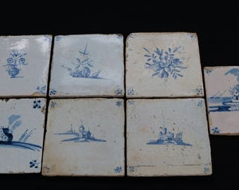 A lot of 7 antique earthenware tiles – Holland 17th century –