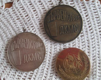 Vintage Bulgarian Medals,Bulgarian Socialist Medals, Set of 3 Medals of Sporting Merit of Communism,Collectible Badge,Retro Socialist Medals