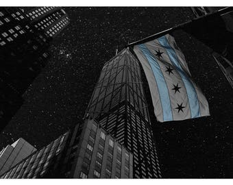 Chicago Art Print Flag Poster Large Fine Art Wall Sticker