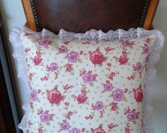 country chic pillow pattern fabric and lilac lace