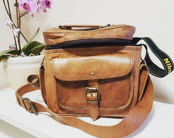 Vintage camera bag genuine leather