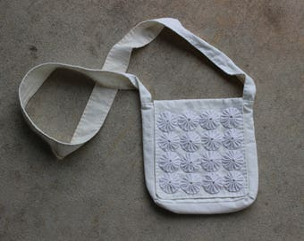 White Cotton Bag with Fabric Yoyo Front