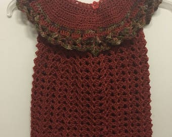 """Crocheted 12-16 month """"My First Thanksgiving"""" Dress"""