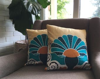 Orange and turquose pillow cover