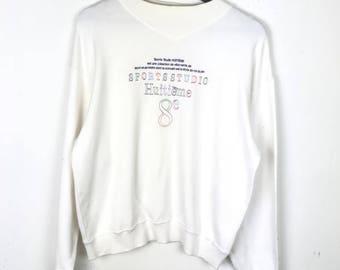 Rare!!! Huitieme 8e Sweatshirt Pullover Multicolors Spellout Embroidery