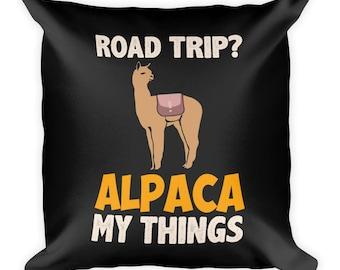 Roadtrip Alpaca My Things Square Pillow