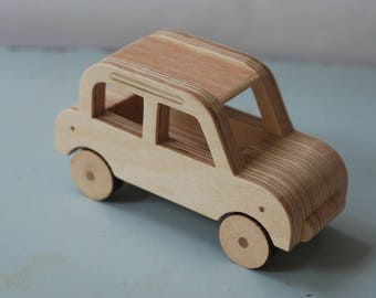 Handmade Small Wood Car, All natural- without any screws, nail or paint