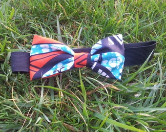 Blue wax fabric bow tie Navy blue orange