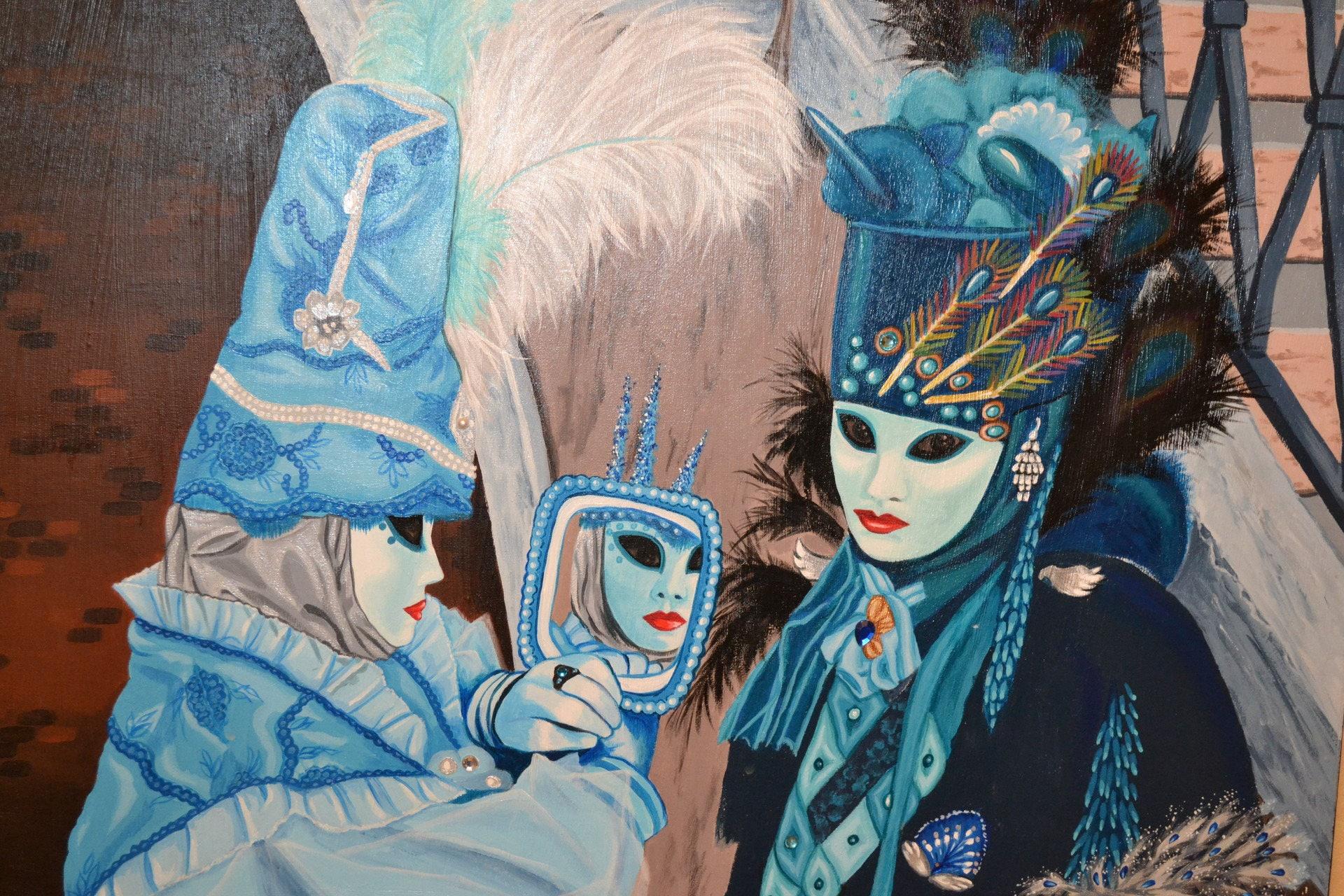 tableau acrylique carnaval de venise les 2 masques bleus. Black Bedroom Furniture Sets. Home Design Ideas