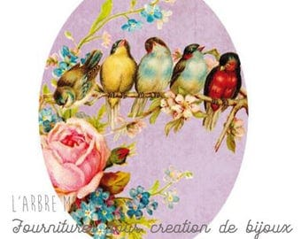 Oval cabochon 18 x 25 mm swallows birds pink 1825c463