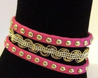 Fuchsia suede Cuff Bracelet