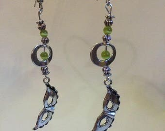 Earrings Silver earrings with mask and green Crackle glass beads