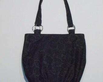 Grey/pink fabric handbag