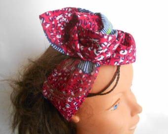 African turban, hard headband, ethnic turban for woman and girl, pink and blue wax