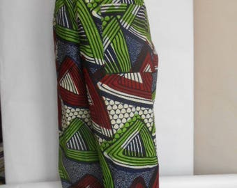 Kids pants in fabric African wax geometric patterns mixed for girl or g