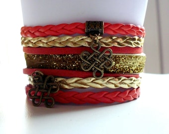 Bracelet liberty Chinese knot charms, faux leather and suede 35 mm