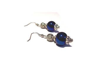 Retro earrings, electric blue beads