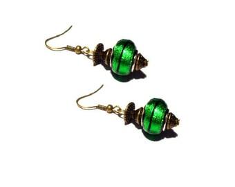 Retro bronze earrings, Green European beads