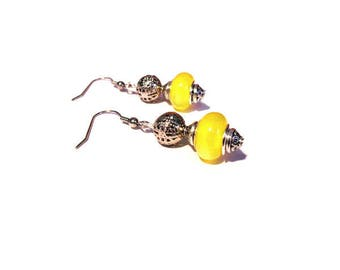 Retro earrings, bright yellow beads