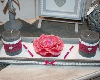 grey shabby candles white and fuchsia hearts and lace top