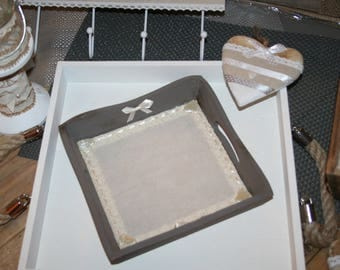 Pocket blank tray wood shabby taupe lace and hearts