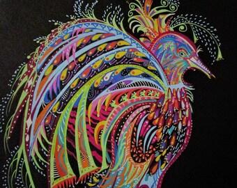 Tableau, Tableau peinture, dessin, feutre, contemporain, oiseau, fantastique, multicolore, fond noir, pour sous-verre