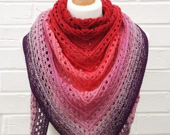 Crochet Lace Shawl Gradient Red to Pink to Purple, Triangle Festival Shawl, Summer Shawlette, Knitted Shoulder Scarf, Ocean Beach Knit Wrap
