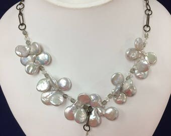 Vintage Mother of Pearl Sterling Necklace