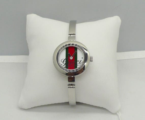 Vintage Gucci 105 Series Striped Dial Stainless Steel Bangle Ladies Watch
