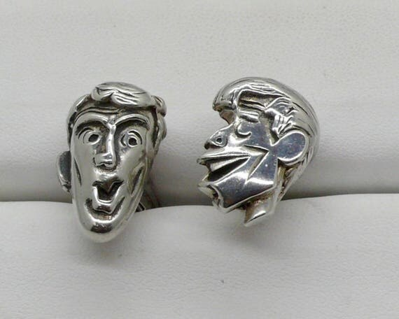 RARE Vintage Antique Jerry Lewis & Dean Martin Sterling Silver Caricature Cuff Links