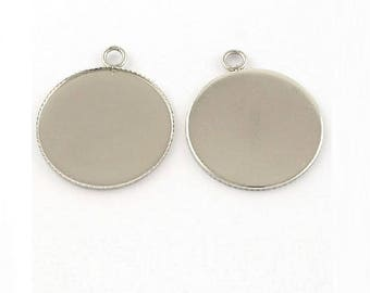 12 stainless steel 25mm cabochon pendant