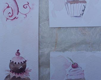 set of 3 mini cards watercolor pastry 2