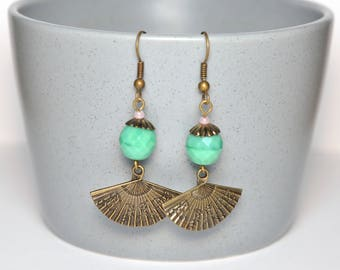 Pearl amazonite fan earrings