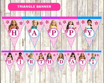 80% OFF American Doll Girl Triangle Banner instant download, Printable American Doll Girl party Banner, American Doll Girl Banner