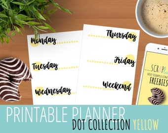 PRINTABLE PLANNER INSERTS | Dots Collection (Yellow)