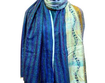 Handmade Vintage Silk Kantha Scarf