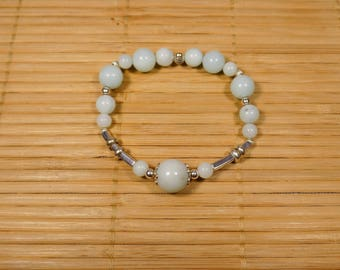 Lagoon blue amazonite bracelet with 925 sterling silver