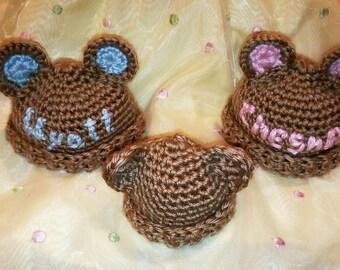 Handmade Preemie baby crochet bear beanie