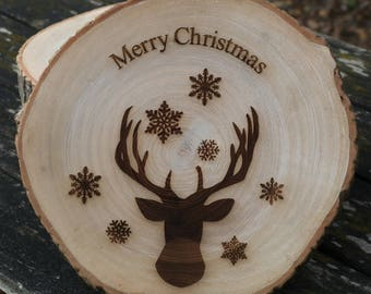 Merry Christmas Stag & Snowflake Laser Engraved Log Ring Decoration - Perfect Gift For Xmas