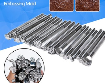 New 20pcs/lot Leather Pattern Stamping Embossing Mold Leathercraft Leather Pattern Printing Beveling Engrave Tool