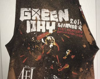 Green Day Acid Washed Muscle Tank (M)